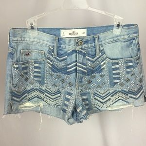 Hollister Jean Denim Boho Shorts High Waisted